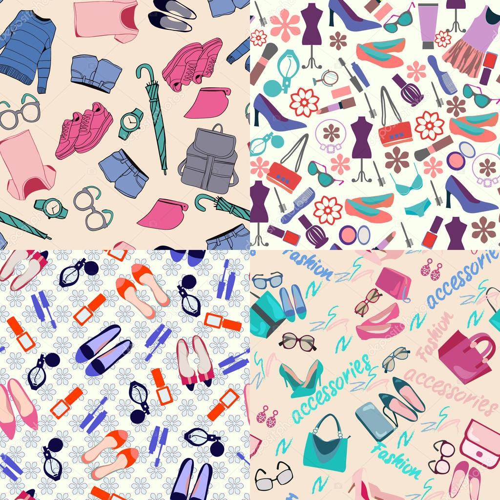 f7deefaf049a95 вектор візерунок набір моди жінки одяг, аксесуари — Стоковий вектор — вектор  © margolana #173894358