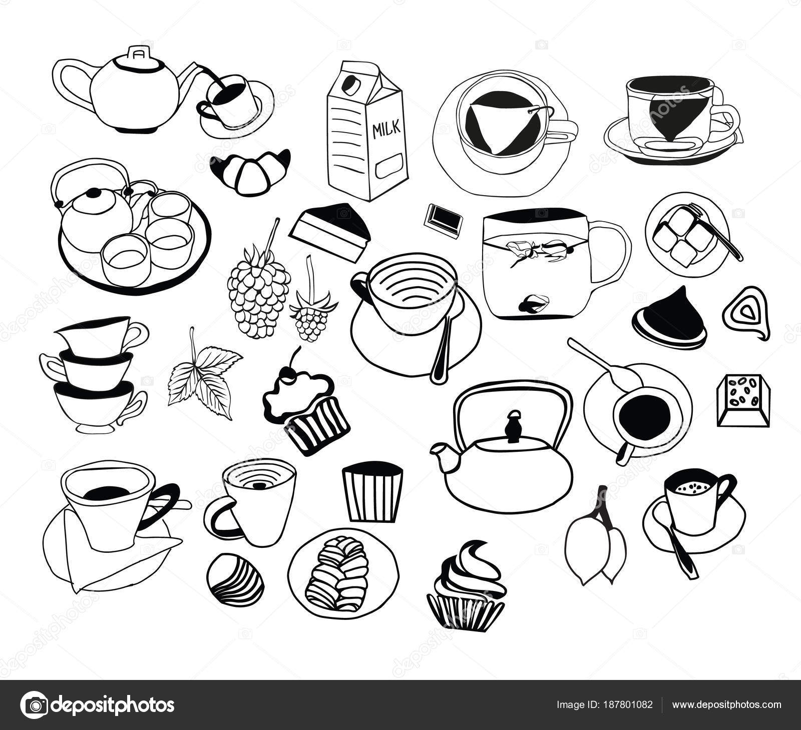 Collection of hand drawn sketches on the theme of tea teapots cups other utensils and daily product