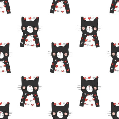 Seamless pattern with black cats and little hearts, Valentines Day holiday design