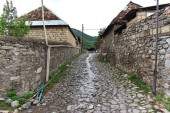 Kish, Azerbaijan - 12 Jul 2013. The stone road in Kish village, Azerbaijan