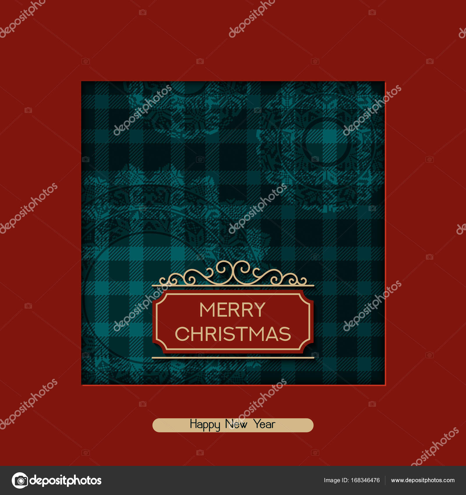 Vector holiday christmas postcard with greeting words tartan vector holiday christmas postcard with greeting words tartan pattern and snow whites design for m4hsunfo