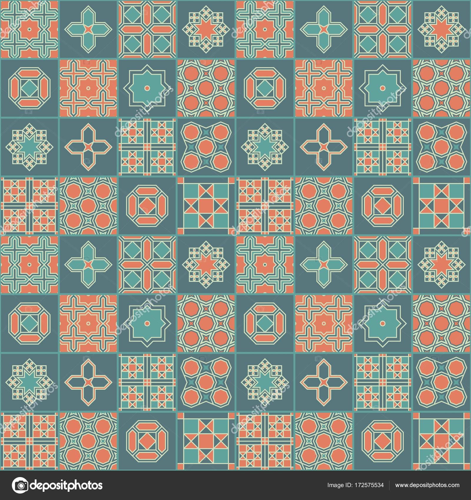 Seamless vector japanese colorful tile pattern design. Design for ...
