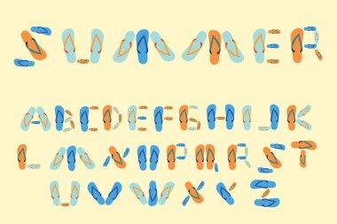 flip flop font type summer alphabet vector
