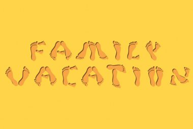 family vacation summer footprints font isolated vector