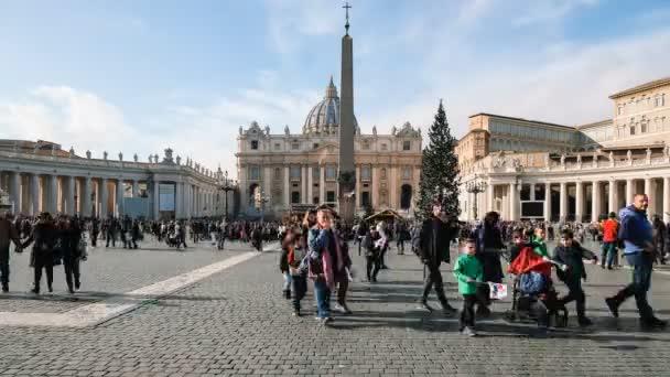 Róma, vatikán, emberek látogató séta szent Péter bazilika tér, letiltása, timelapse