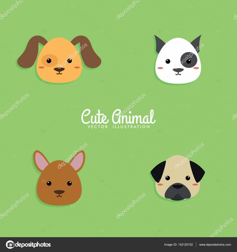 Perro De Dibujos Animados Caras Archivo Imágenes Vectoriales