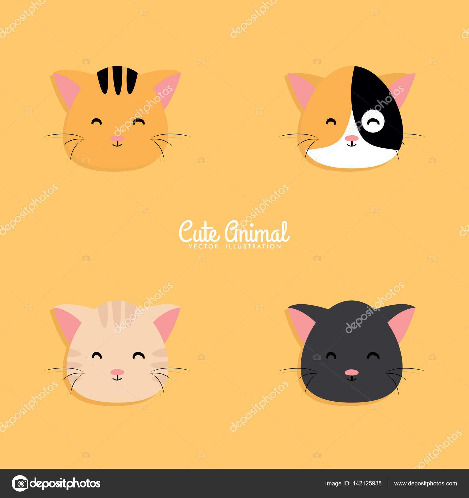 Caras De Dibujos Animados De Gato Archivo Imágenes Vectoriales
