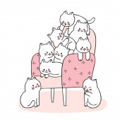 Catoon cute drawn cats playing on chair vector.