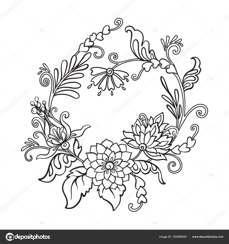 Anahat Vintage çiçek Buketi Veya Desen Stok Vektör Elenabesedina