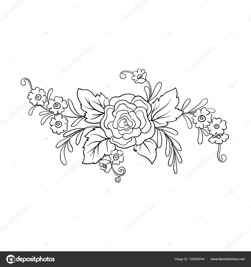 Outline vintage flowers bouquet or pattern stock vector outline vintage flowers bouquet or pattern stock vector izmirmasajfo