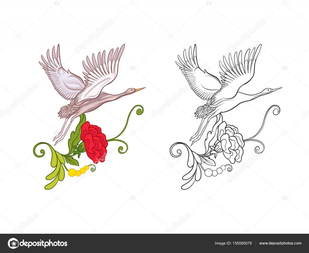 çiçekler Ve Vinç Renkli örnek Ve çizim Anahat Stok Vektör