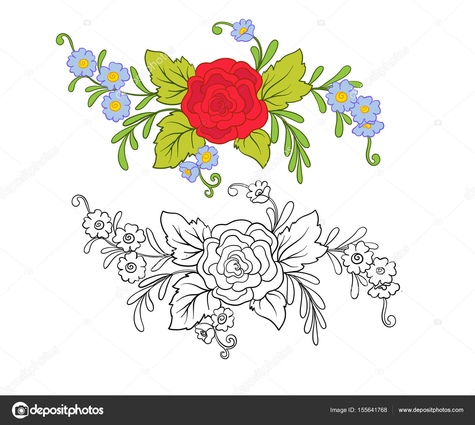 Set of outline and colored vintage flowers bouquet or pattern set of outline and colored vintage flowers bouquet or pattern stock vector izmirmasajfo