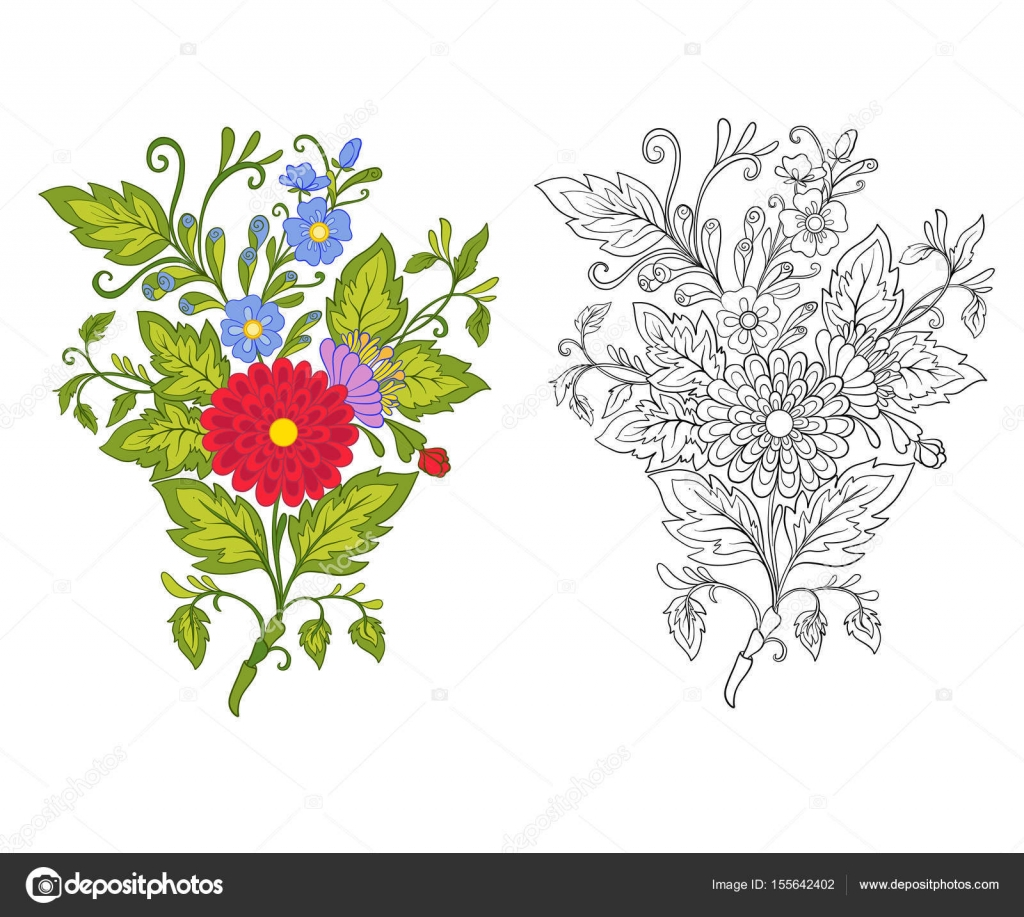 Imágenes Ramos De Flores Para Colorear Conjunto De Contorno Y