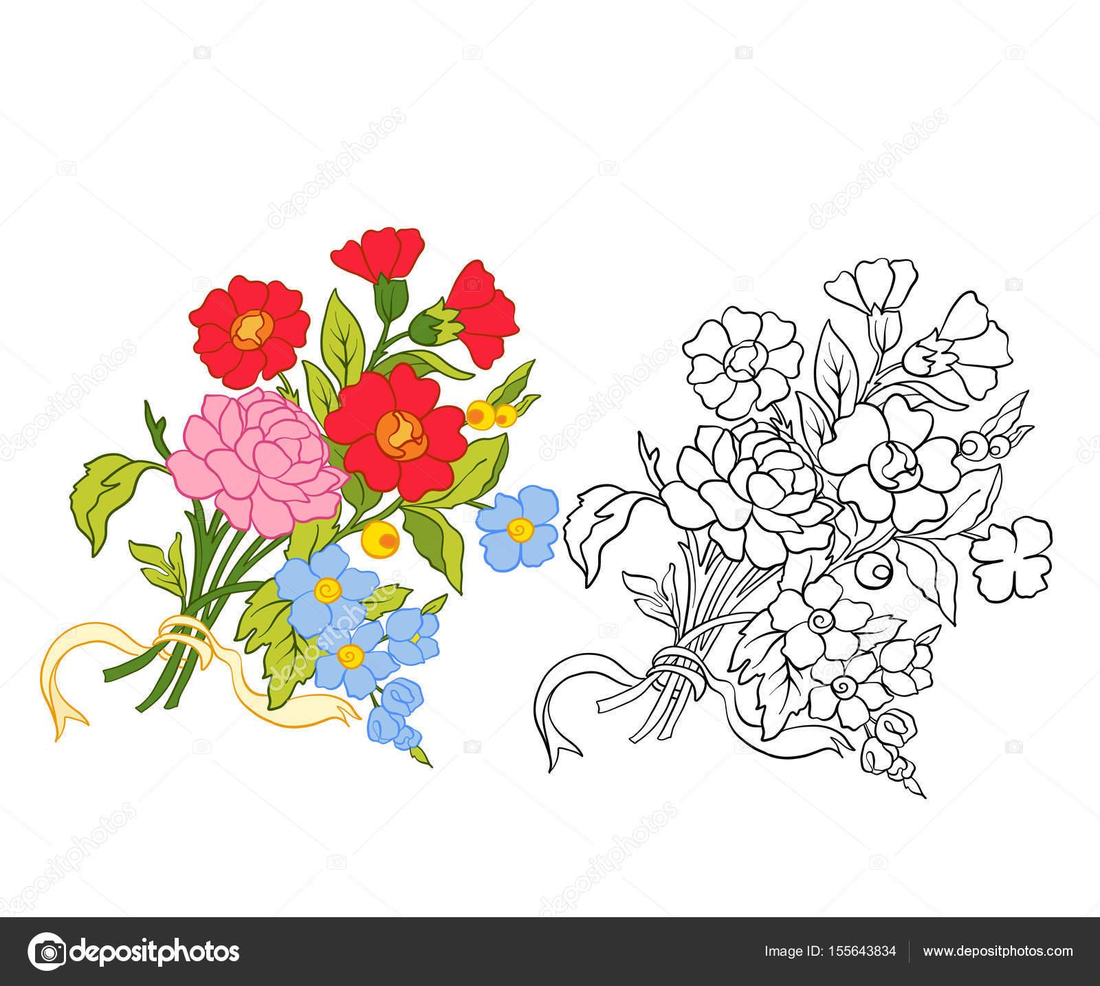 Anahat Ve Renkli Vintage çiçek Buketi Veya Desen Stok Vektör