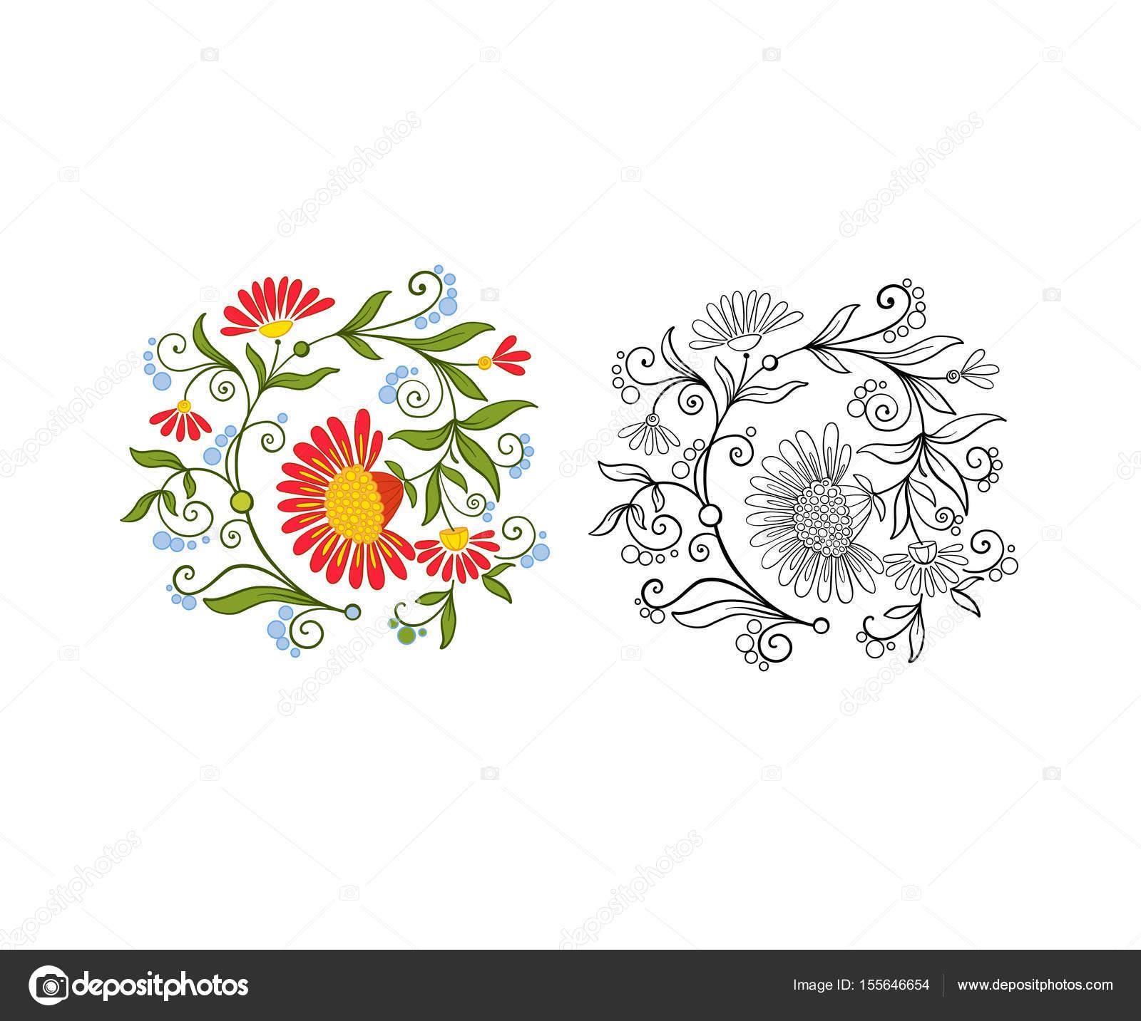 Conjunto de contorno y ramo de flores vintage color o patrón ...