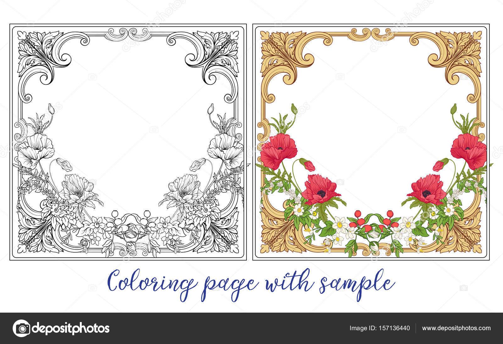 Conjunto o esquema y ramo de flores de verano color de amapola, daff ...