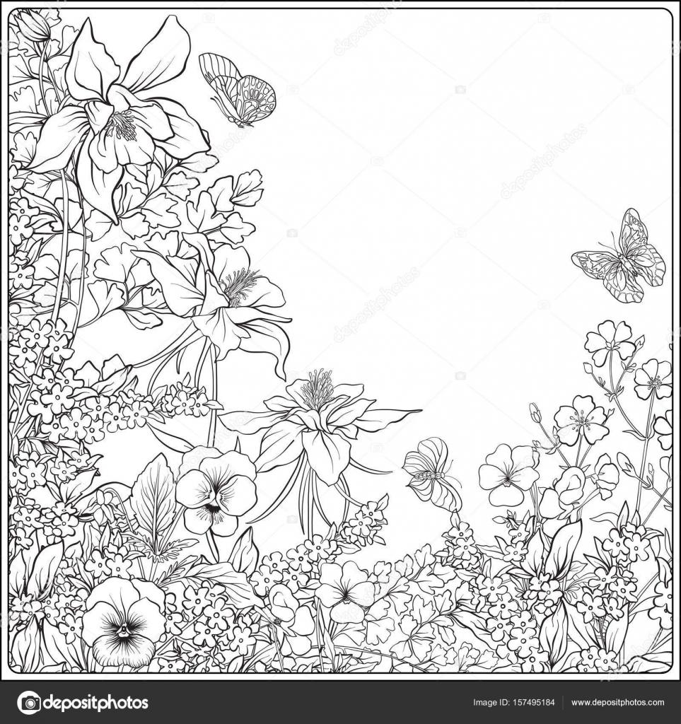 Fotos Dibujo Primavera Adultos Composición Con Flores De