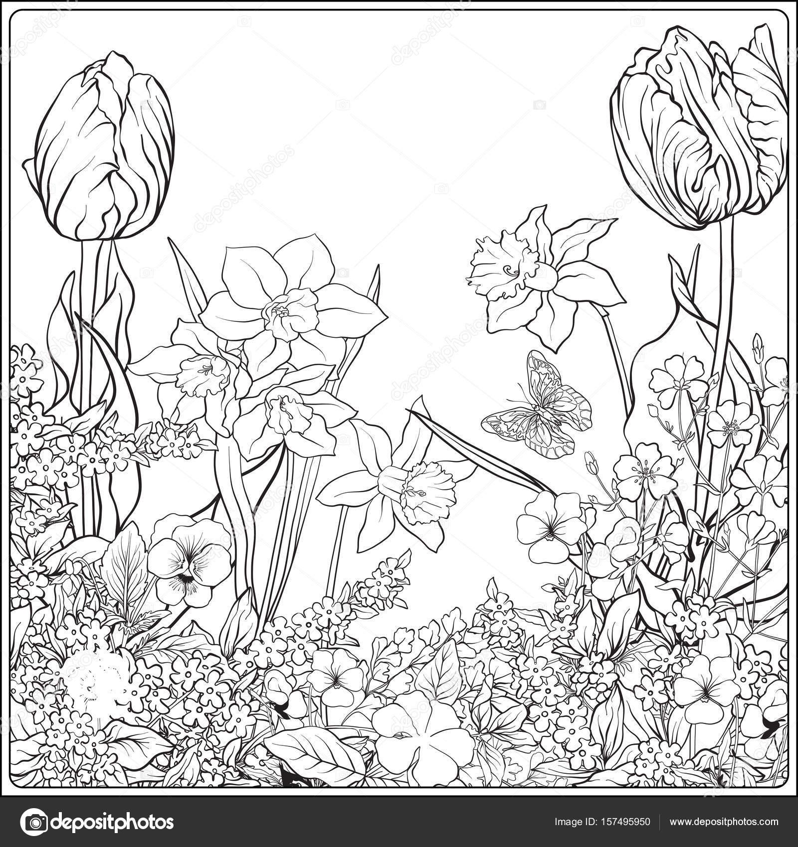 Composicion Con Flores De Primavera Tulipanes Narcisos Violetas