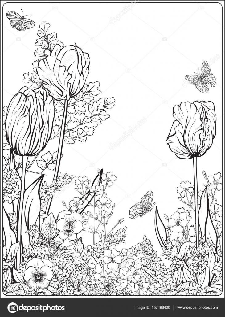 Komposition Mit Fruhlingsblumen Tulpen Narzissen Veilchen Fur