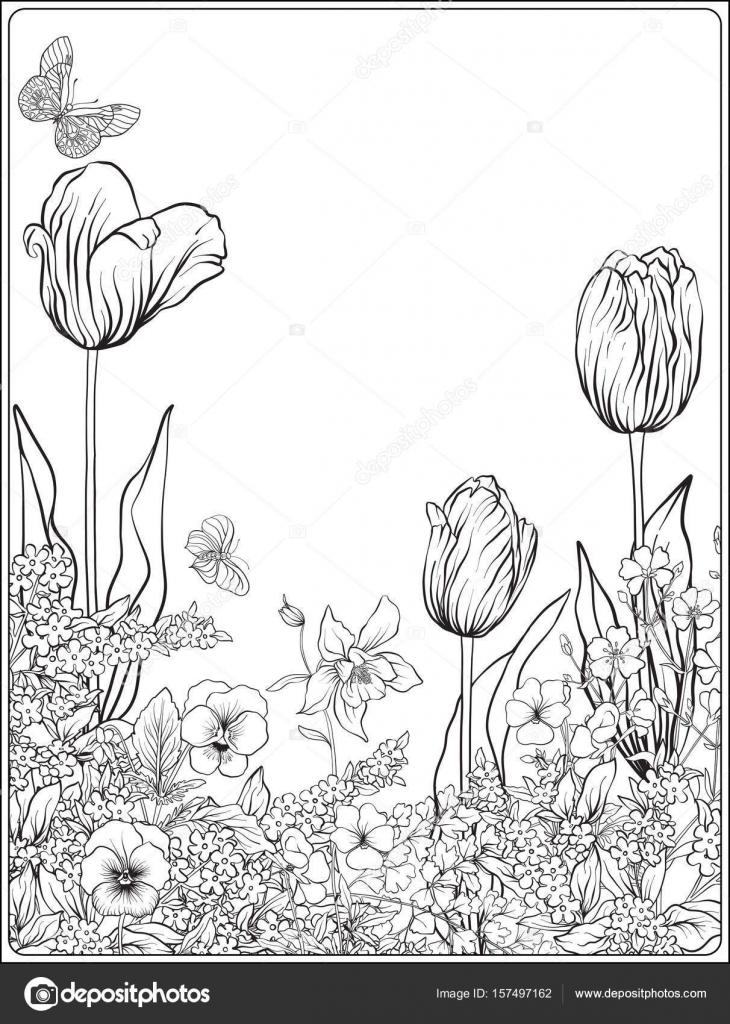 Composición con flores de primavera: tulipanes, narcisos, violetas ...