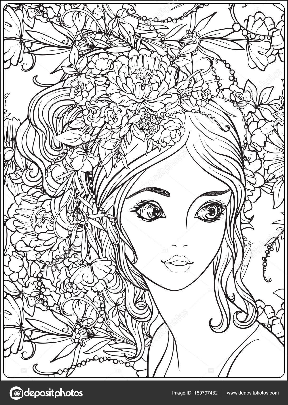 Eine junge schöne Mädchen mit einem Kranz von Blumen auf dem Kopf ...