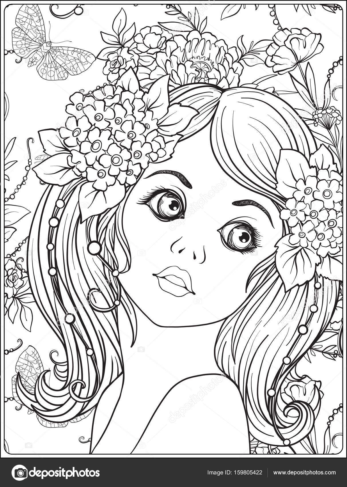 Una chica hermosa joven con una corona de flores en la cabeza ...