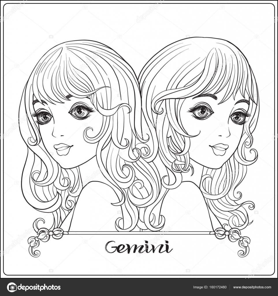 Zwillinge, Zwillinge. Eine schöne junge Mädchen In Form eines th ...