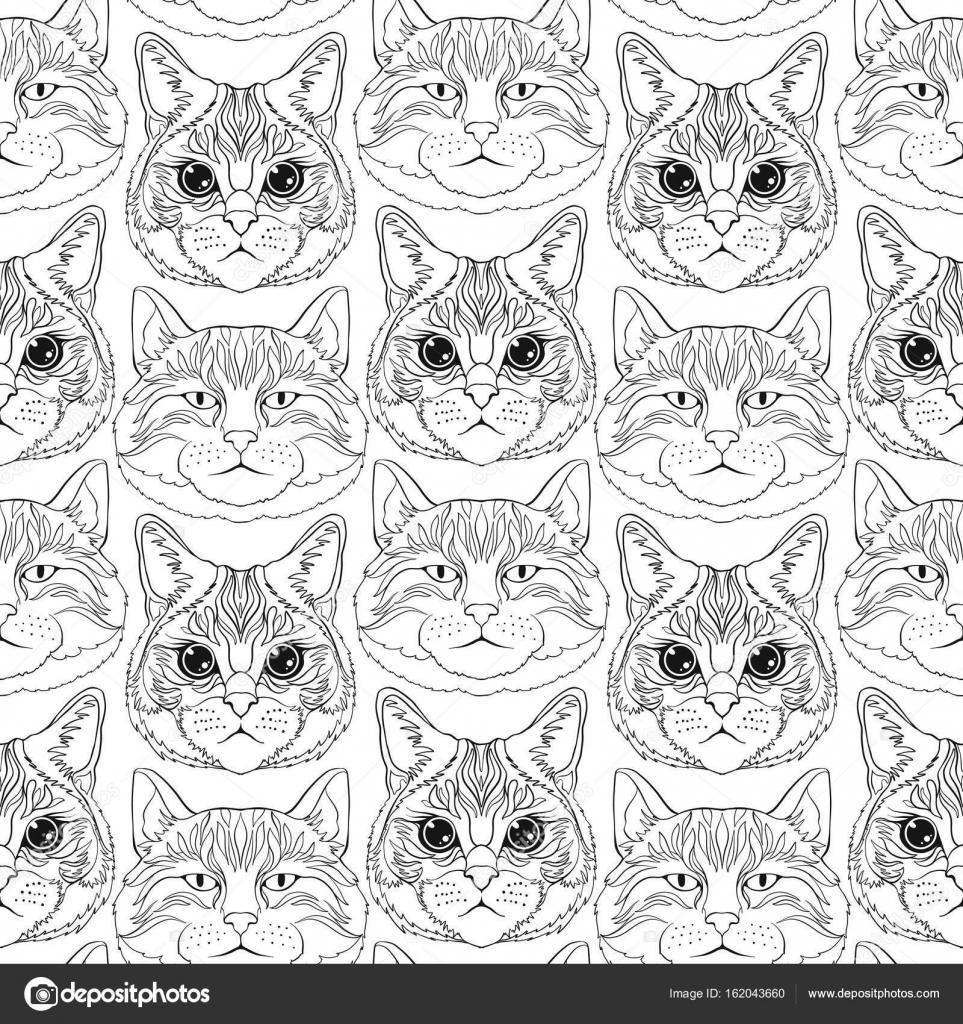 Katzen Ausmalbilder Für Erwachsene : Katzen Nahtlose Muster Hintergrund Stockvektor Elenabesedina