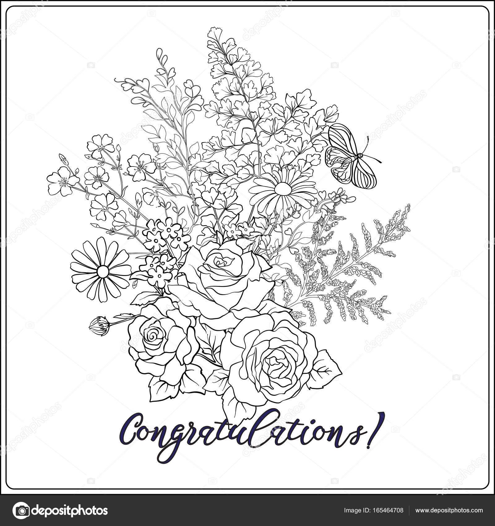 Blumenstrauß Mit Rosen Und Gänseblümchen Stockvektor