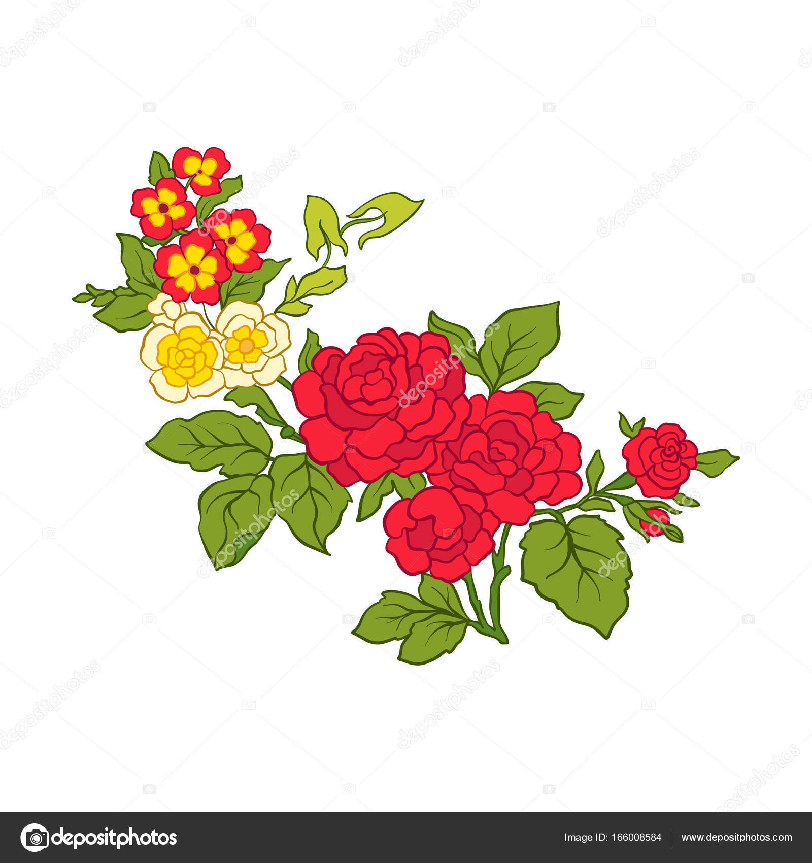 Colored vintage flowers bouquet or pattern — Stock Vector ...