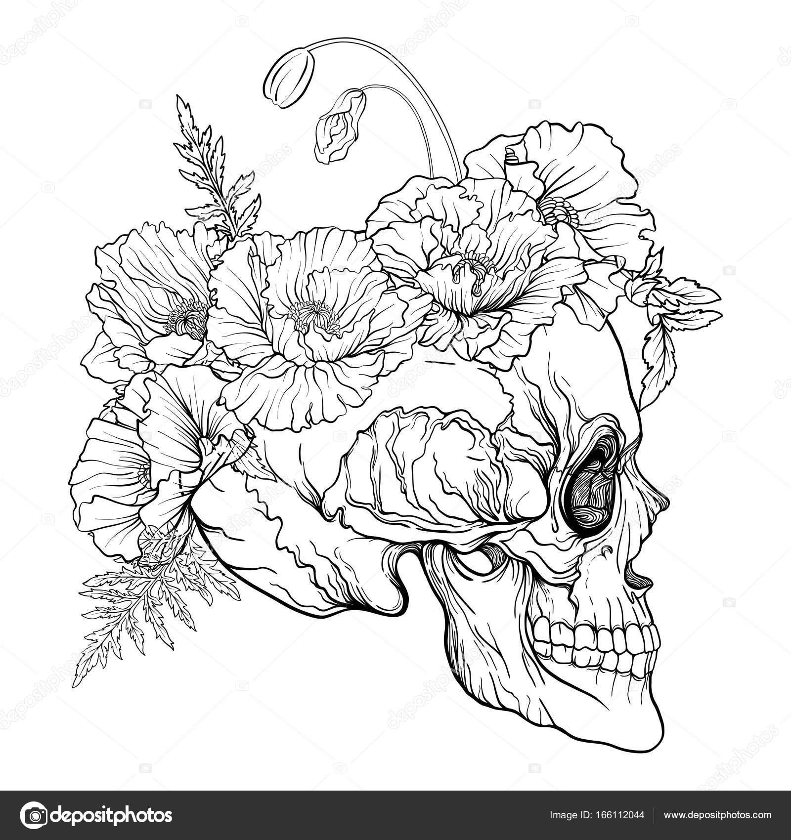 Cráneo del azúcar con el patrón decorativo y una corona de amapolas ...