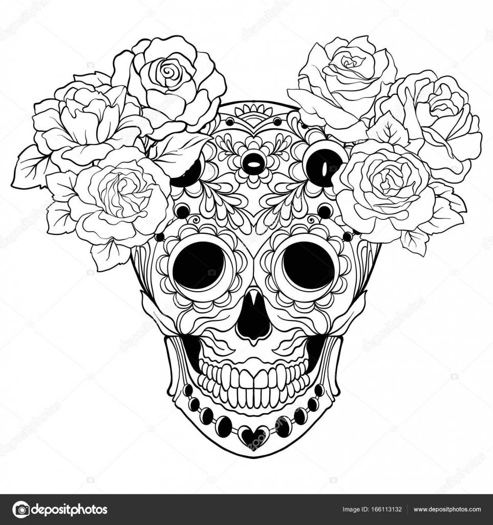 Calavera de azúcar con patrón decorativo y una corona de rosas rojas ...