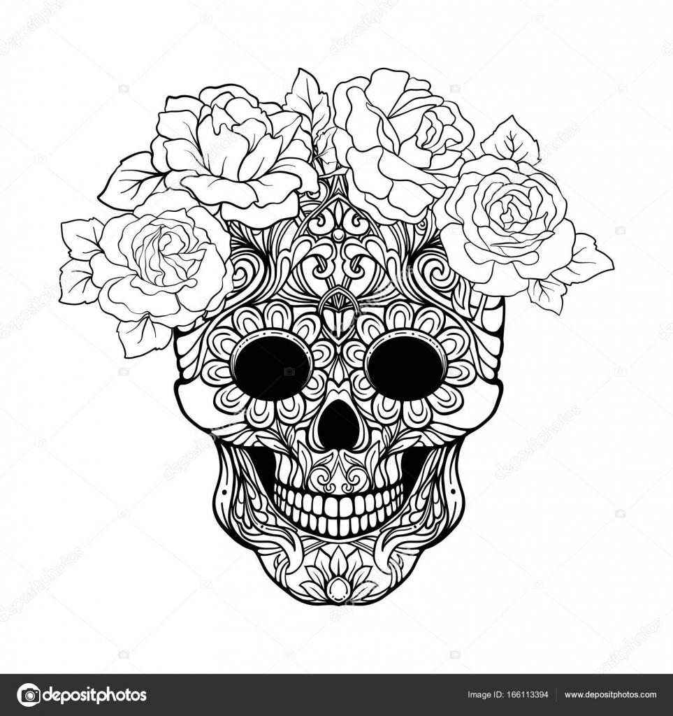Imágenes: calavera para dibujar   Calavera de azúcar con patrón ...