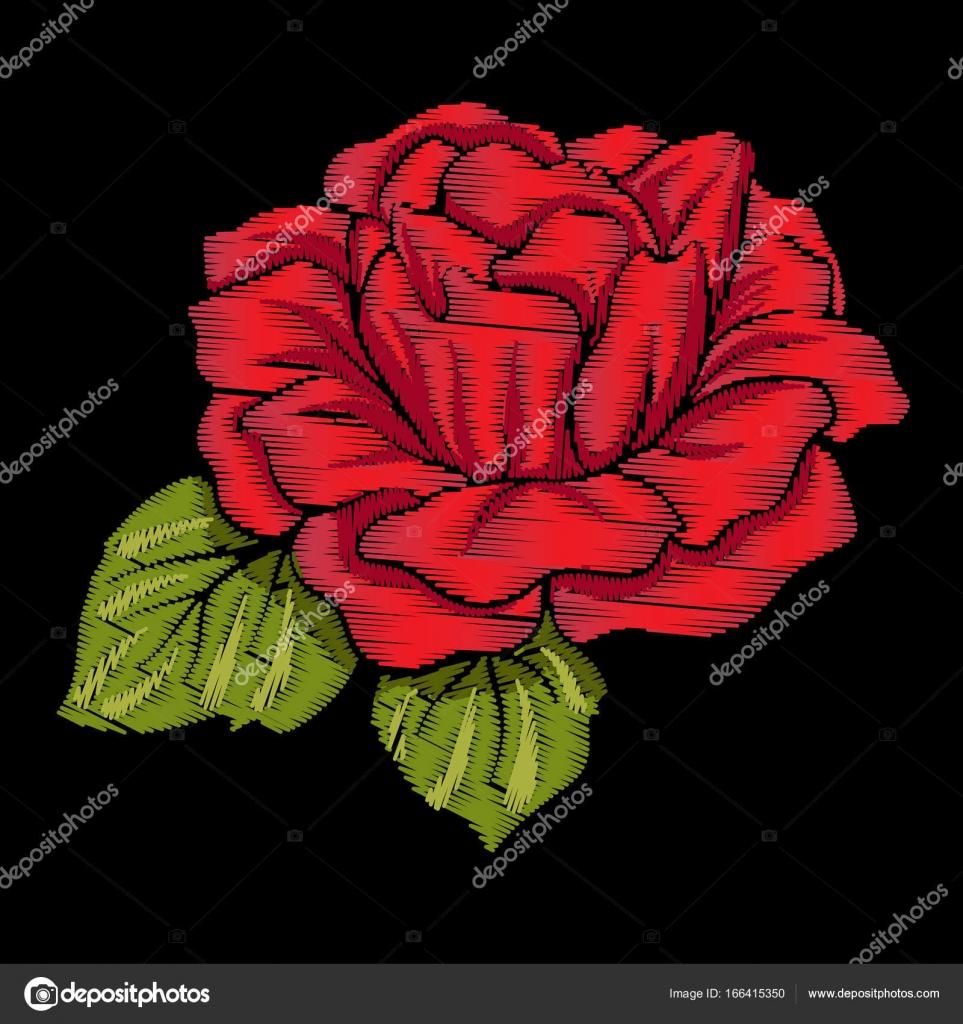 Ricamo Rosso Rosa Con Le Foglie Verdi Su Sfondo Nero Stock