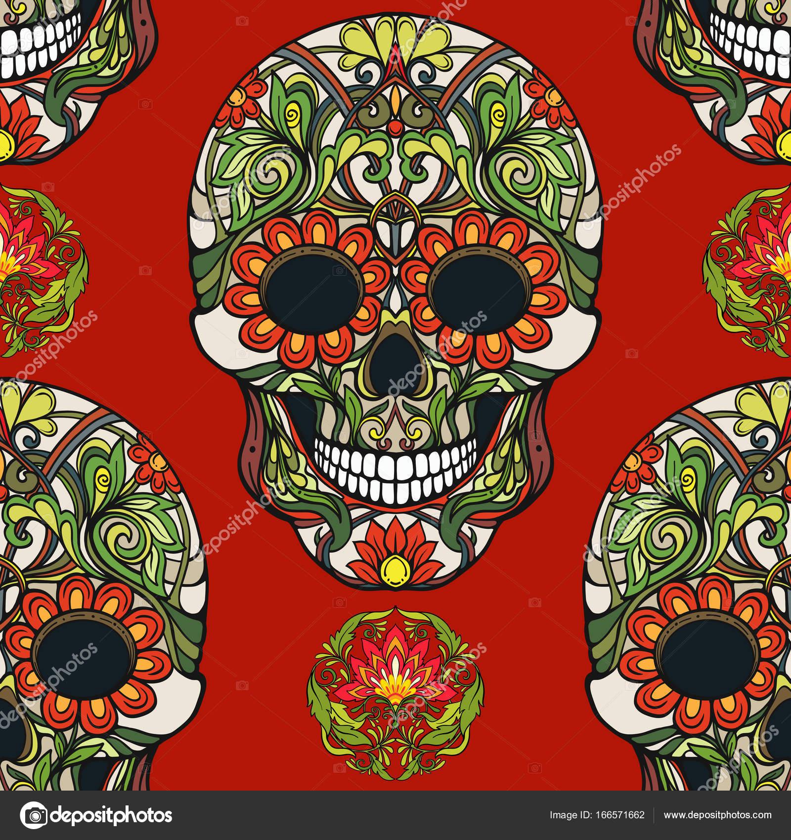 Nahtlose Muster, Hintergrund mit Zucker Schädel und florale Muster ...