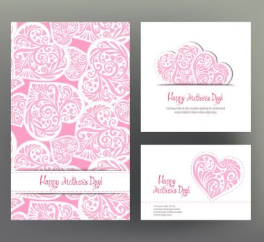 Set of 3 size postcard or banner for Happy mothers Day with Lov