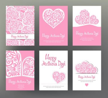 Set of 6 postcard or banner for Happy mothers Day with Love hea