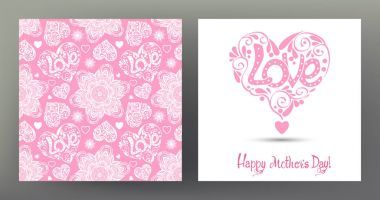 Set of postcard or banner for Happy mothers Day with Love heart