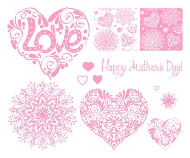 Set of design elements for Happy mothers Day with Love heart, s