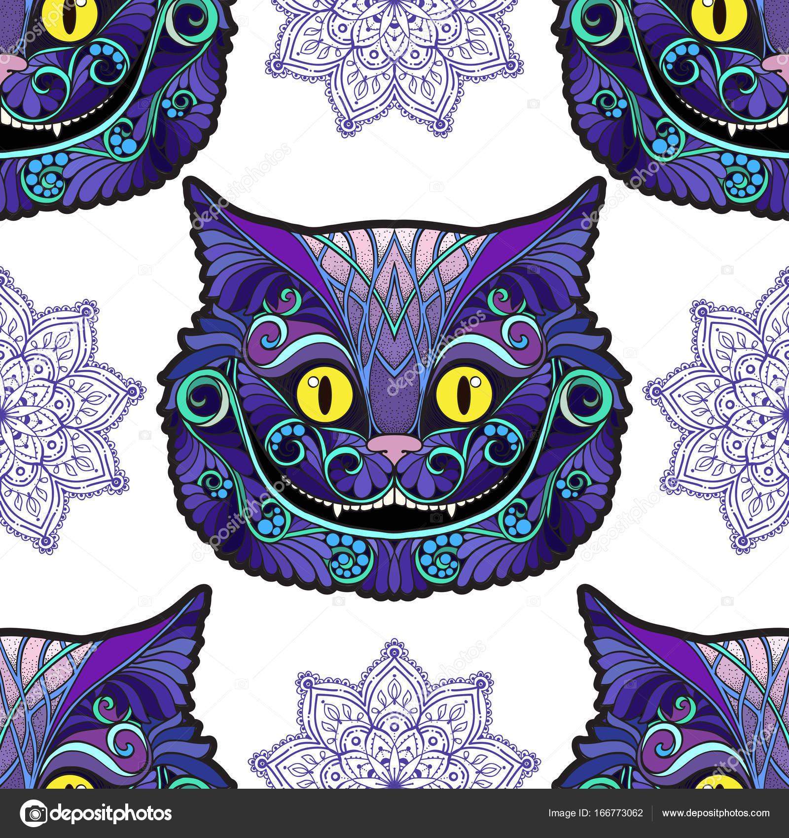 Kot Z Cheshire Głowy Z Bajki Alicja W Krainie Czarów Grafika