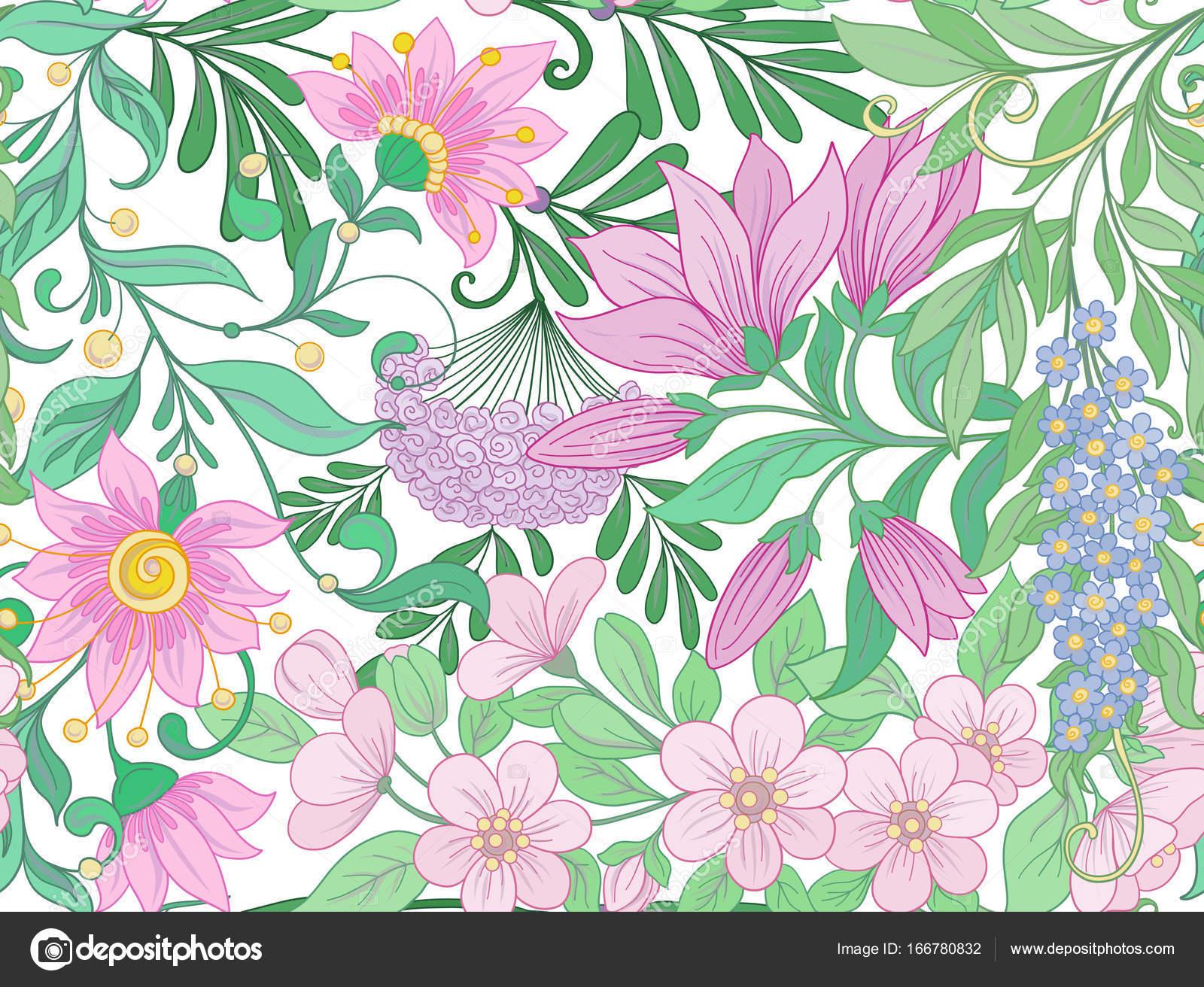 Flores Vectoriales Con Fondo Transparente: Patrón Transparente, Fondo Con Magnolia Flores De