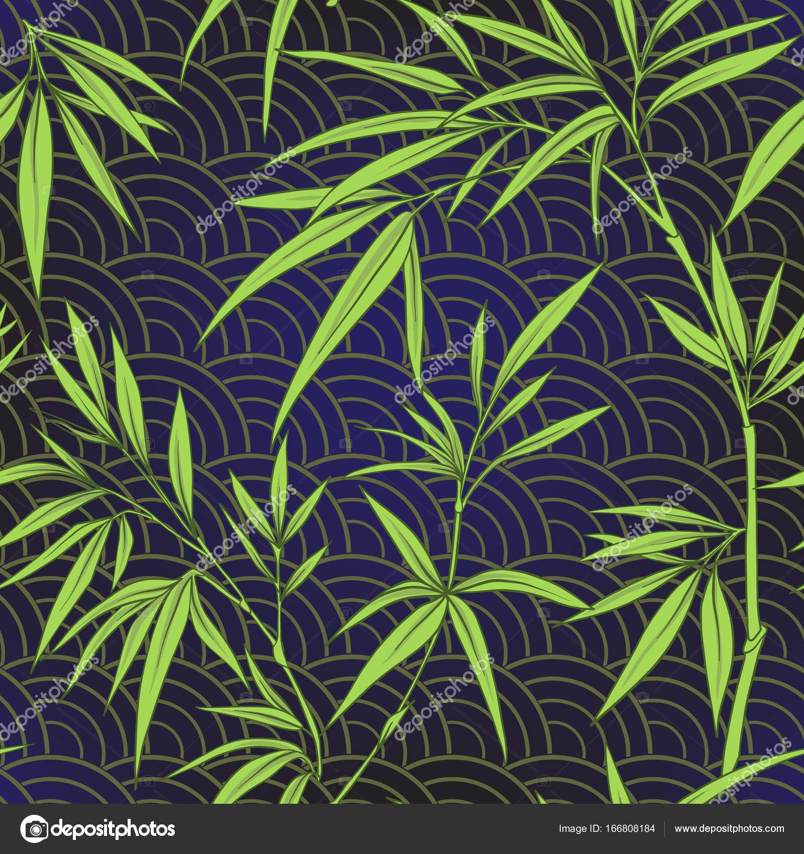 mod le sans couture avec des feuilles de bambou et de succursales en japonais sty image. Black Bedroom Furniture Sets. Home Design Ideas