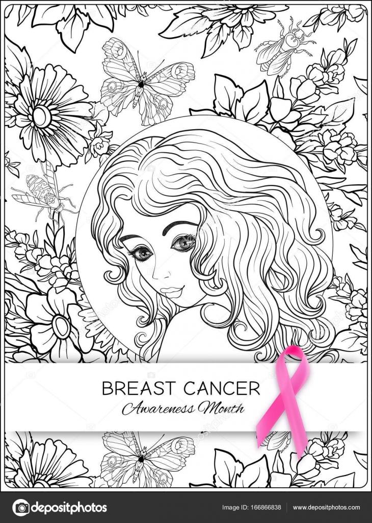 Mama enferma para colorear | Cartel de mes mama cáncer conciencia ...