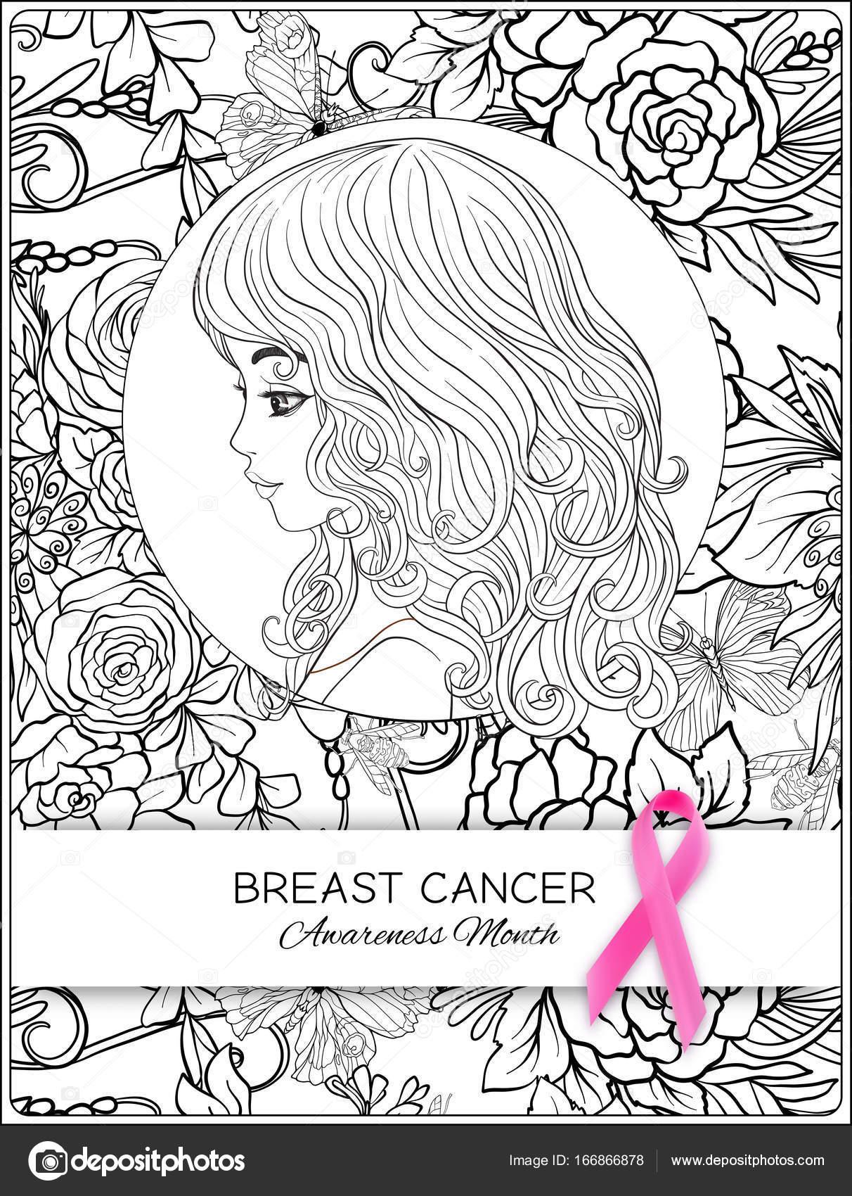 Cartel de mes mama cáncer conciencia con cinta rosa, retrato de ...