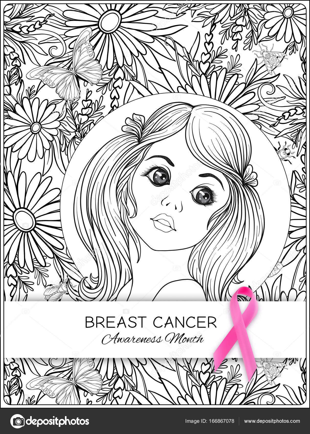 Breast cancer awareness month poster with pink ribbon and ...