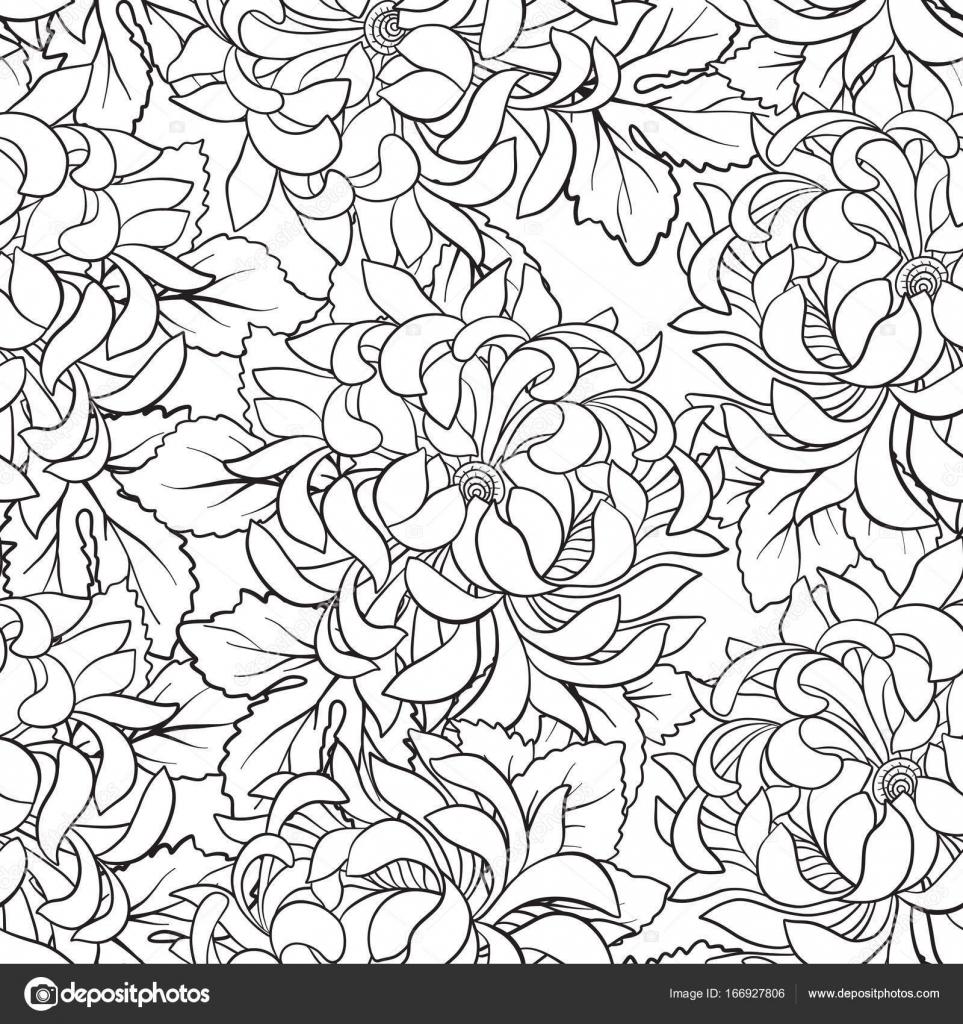 Patrón sin fisuras con crisantemo en estilo japonés. Esquema d ...