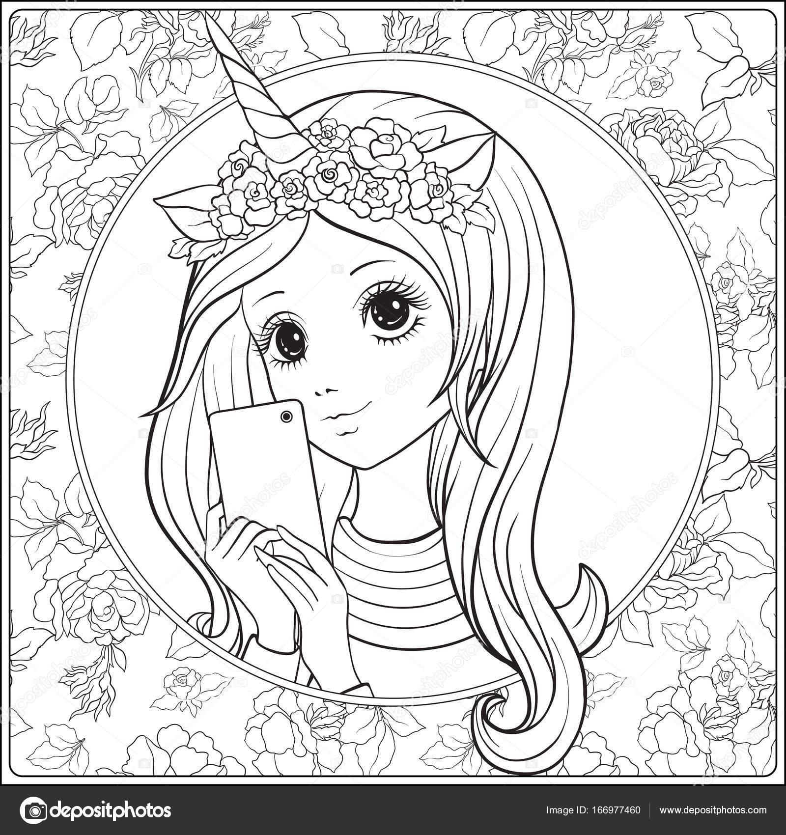 Chica Joven Con Largo Escuchar Y Cuerno De Unicornio Y Rosas En Su