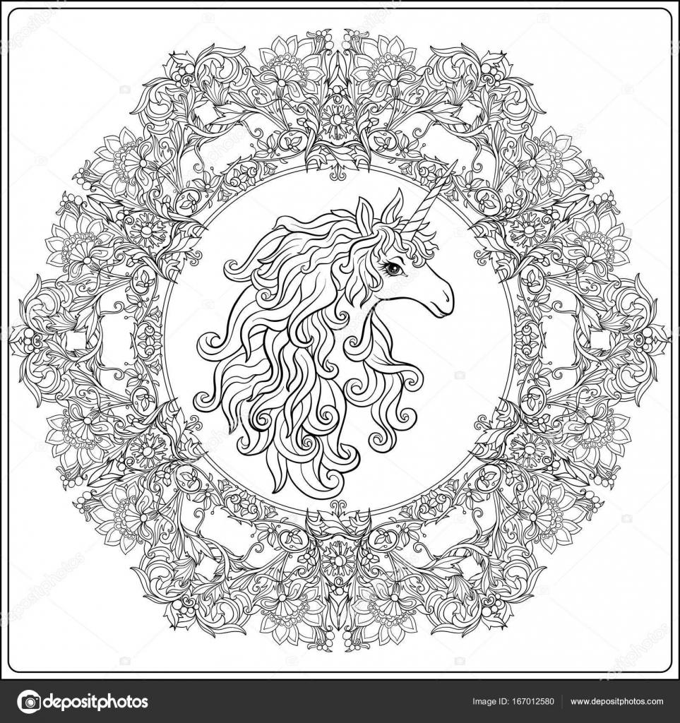 Unicornio en marco, arabescos al estilo medieval, real. Ou — Archivo ...