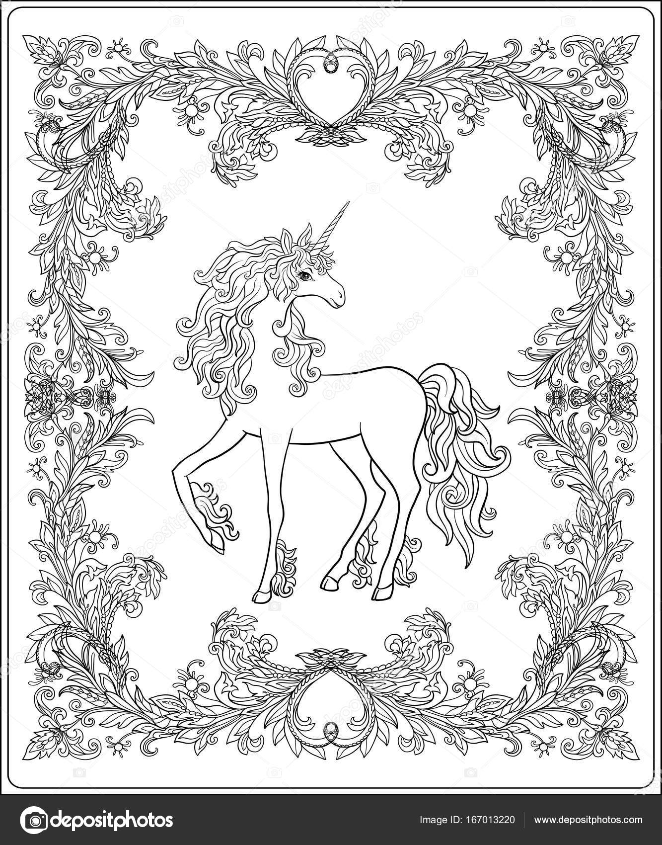 Unicorn in the frame, arabesque in the royal, medieval style. Ou ...