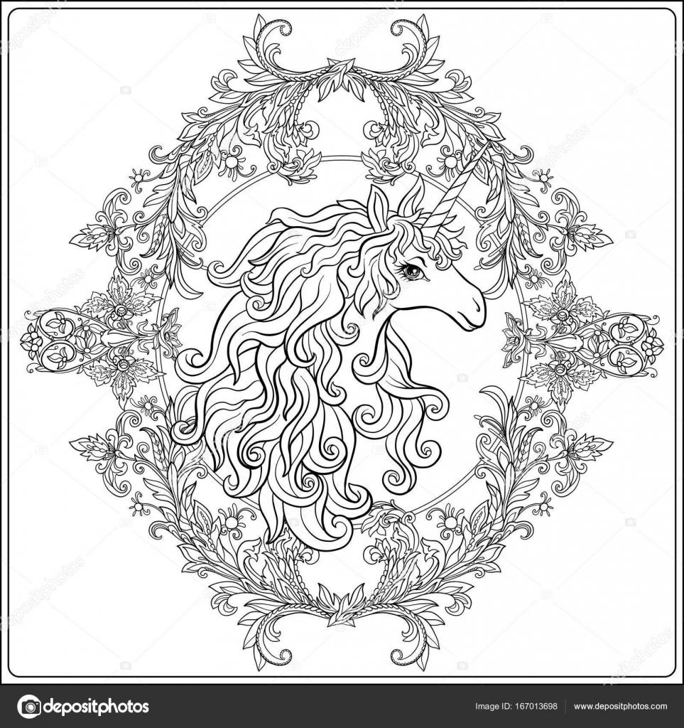 Unicornio en marco, arabescos al estilo medieval, real. Ou — Vector ...